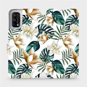 Flipové pouzdro Mobiwear na mobil Realme 7 5G - MC07P Zlatavé květy a zelené listy