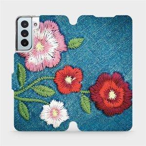 Flipové pouzdro Mobiwear na mobil Samsung Galaxy S21 Plus 5G - MD05P Džínové květy