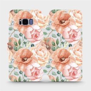 Flip pouzdro Mobiwear na mobil Samsung Galaxy S8 - MP02S Pastelové květy