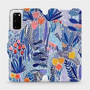 Flip pouzdro Mobiwear na mobil Samsung Galaxy S20 - MP03P Modrá květena