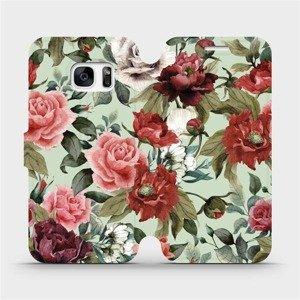 Flipové pouzdro Mobiwear na mobil Samsung Galaxy S7 - MD06P Růže a květy na světle zeleném pozadí