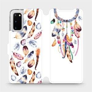Flipové pouzdro Mobiwear na mobil Samsung Galaxy S20 - M003S Lapač a barevná pírka