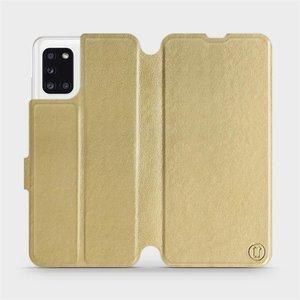Flipové pouzdro Mobiwear na mobil Samsung Galaxy A31 v provedení C_GOP Gold&Orange s oranžovým vnitřkem