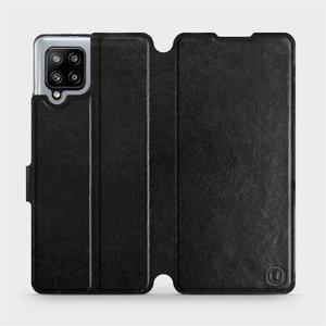 Flipové pouzdro Mobiwear na mobil Samsung Galaxy A42 5G v provedení C_BLS Black&Gray s šedým vnitřkem