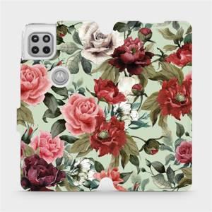 Flipové pouzdro Mobiwear na mobil Motorola Moto G 5G - MD06P Růže a květy na světle zeleném pozadí