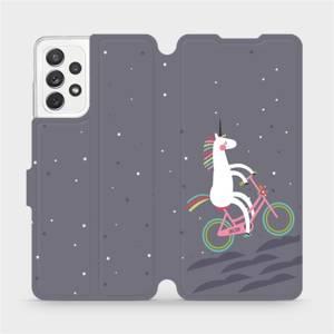 Flipové pouzdro Mobiwear na mobil Samsung galaxy A72 5G - V024P Jednorožec na kole