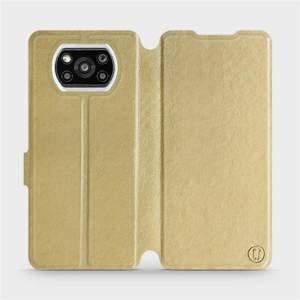 Flipové pouzdro Mobiwear na mobil Xiaomi Poco X3 Pro v provedení C_GOS Gold&Gray s šedým vnitřkem