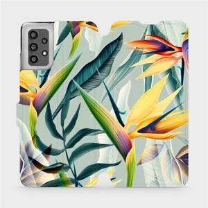 Flip pouzdro Mobiwear na mobil Samsung Galaxy A32 LTE - MC02S Žluté velké květy a zelené listy
