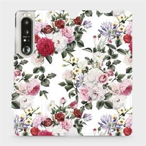 Flip pouzdro Mobiwear na mobil Sony Xperia 1 III - MD01S Růže na bílé