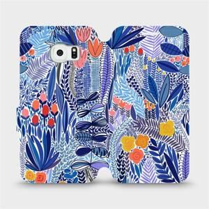 Flip pouzdro Mobiwear na mobil Samsung Galaxy S6 Edge - MP03P Modrá květena