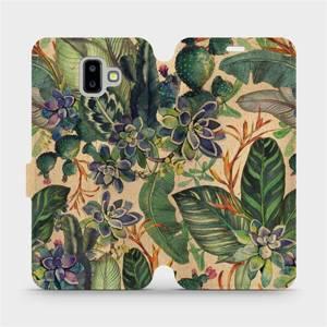 Flip pouzdro Mobiwear na mobil Samsung Galaxy J6 Plus 2018 - VP05S Sukulenty