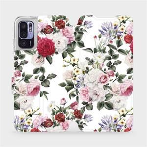 Flip pouzdro Mobiwear na mobil Xiaomi Redmi Note 10 5G - MD01S Růže na bílé