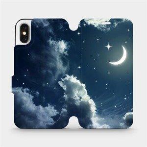 Flipové pouzdro Mobiwear na mobil Apple iPhone X - V145P Noční obloha s měsícem