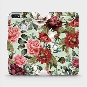Flipové pouzdro Mobiwear na mobil Huawei P9 Lite mini - MD06P Růže a květy na světle zeleném pozadí