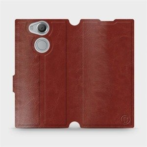 Parádní flip pouzdro Mobiwear na mobil Sony Xperia XA2 v provedení C_BRS Brown&Gray s šedým vnitřkem