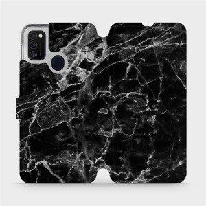 Flipové pouzdro Mobiwear na mobil Samsung Galaxy M21 - V056P Černý mramor