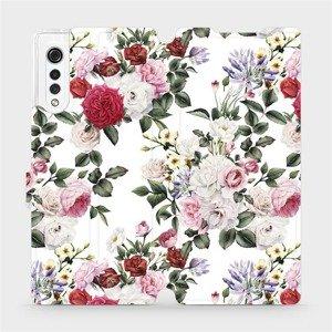 Flipové pouzdro Mobiwear na mobil LG Velvet - MD01S Růže na bílé