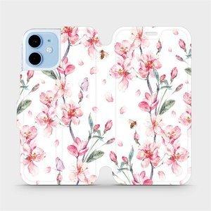 Flipové pouzdro Mobiwear na mobil Apple iPhone 12 mini - M124S Růžové květy