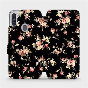 Parádní flip pouzdro Mobiwear na mobil Samsung Galaxy M11 - VD02S Květy na černé