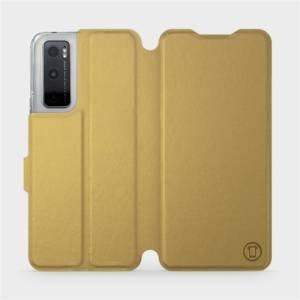 Flipové pouzdro Mobiwear na mobil Vivo Y70 v provedení C_GOP Gold&Orange s oranžovým vnitřkem
