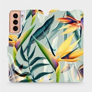 Flipové pouzdro Mobiwear na mobil Samsung Galaxy S21 5G - MC02S Žluté velké květy a zelené listy