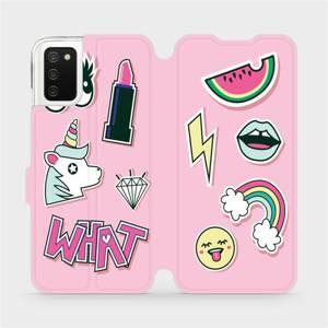 Flipové pouzdro Mobiwear na mobil Samsung Galaxy A02s - M129S Růžové WHAT