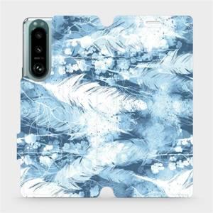 Flip pouzdro Mobiwear na mobil Sony Xperia 5 III - M058S Světle modrá horizontální pírka