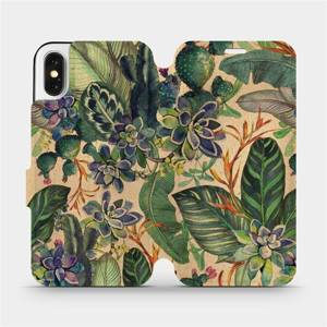Flip pouzdro Mobiwear na mobil Apple iPhone X - VP05S Sukulenty