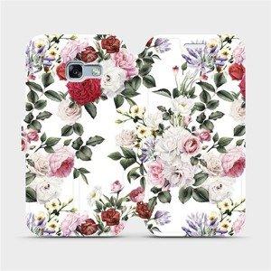 Flipové pouzdro Mobiwear na mobil Samsung Galaxy A3 2017 - MD01S Růže na bílé