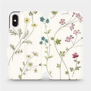 Flipové pouzdro Mobiwear na mobil Apple iPhone X - MD03S Tenké rostlinky s květy