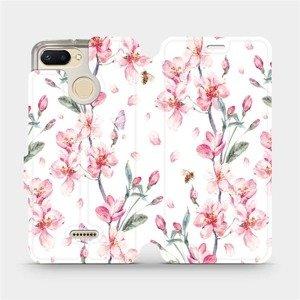 Flipové pouzdro Mobiwear na mobil Xiaomi Redmi 6 - M124S Růžové květy