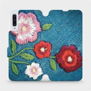 Flipové pouzdro Mobiwear na mobil Samsung Galaxy A50 - MD05P Džínové květy