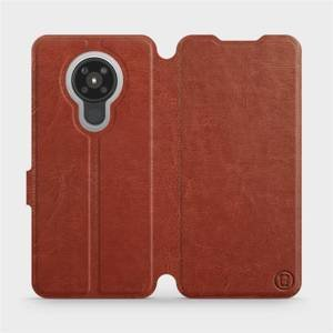 Flipové pouzdro Mobiwear na mobil Nokia 5.3 v provedení C_BRP Brown&Orange s oranžovým vnitřkem