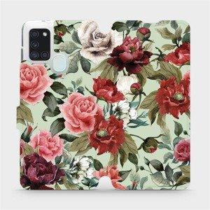 Flipové pouzdro Mobiwear na mobil Samsung Galaxy A21S - MD06P Růže a květy na světle zeleném pozadí
