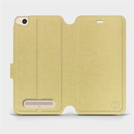 Parádní flip pouzdro Mobiwear na mobil Xiaomi Redmi 4A v provedení C_GOS Gold&Gray s šedým vnitřkem