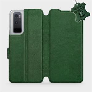 Luxusní kožené flip pouzdro Mobiwear na mobil Vivo Y70 - Zelené - L_GRS Green Leather - výprodej