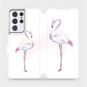 Flipové pouzdro Mobiwear na mobil Samsung Galaxy S21 Ultra 5G - M005S Plameňáci