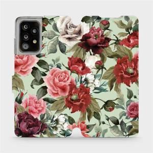 Flipové pouzdro Mobiwear na mobil Samsung Galaxy A52 5G / LTE - MD06P Růže a květy na světle zeleném pozadí