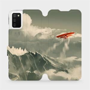 Flipové pouzdro Mobiwear na mobil Samsung Galaxy A02s - MA03P Oranžové letadlo v horách