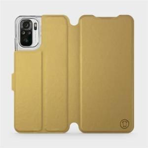 Flipové pouzdro Mobiwear na mobil Xiaomi Redmi Note 10 v provedení C_GOS Gold&Gray s šedým vnitřkem