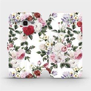 Flipové pouzdro Mobiwear na mobil Samsung Galaxy J3 2016 - MD01S Růže na bílé