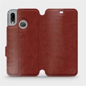 Flipové pouzdro Mobiwear na mobil Huawei P20 Lite v provedení C_BRP Brown&Orange s oranžovým vnitřkem