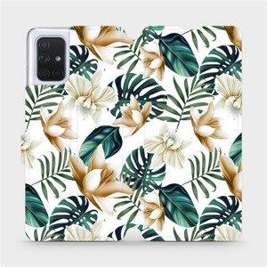 Flipové pouzdro Mobiwear na mobil Samsung Galaxy A71 - MC07P Zlatavé květy a zelené listy