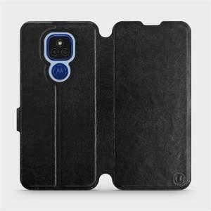 Flipové pouzdro Mobiwear na mobil Motorola Moto E7 Plus v provedení C_BLS Black&Gray s šedým vnitřkem