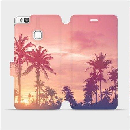Flipové pouzdro Mobiwear na mobil Huawei P9 Lite - M134P Palmy a růžová obloha