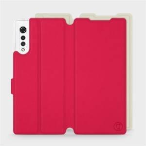 Flipové pouzdro Mobiwear na mobil LG Velvet v provedení S_RDT Sytě červené s béžovým vnitřkem