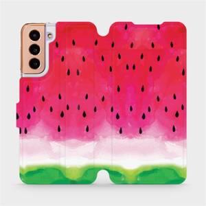 Flipové pouzdro Mobiwear na mobil Samsung Galaxy S21 5G - V086S Melounek