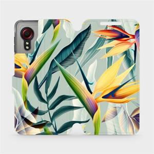 Flipové pouzdro Mobiwear na mobil Samsung Galaxy Xcover 5 - MC02S Žluté velké květy a zelené listy