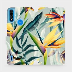 Flipové pouzdro Mobiwear na mobil Motorola Moto E7 Power - MC02S Žluté velké květy a zelené listy