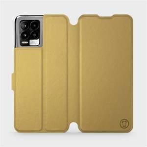 Flip pouzdro Mobiwear na mobil Realme 8 v provedení C_GOS Gold&Gray s šedým vnitřkem